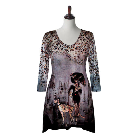 "Valentina Signa ""Cheetah Spots"" Print V-Neck Tunic in Multi - 5859-7"