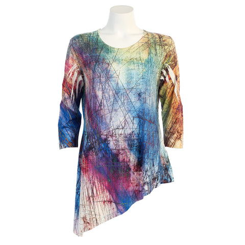 "Jess & Jane ""Color Palette"" Angle Hem Tunic in Multicolor - 59-856 - Sizes L & 2X Only"