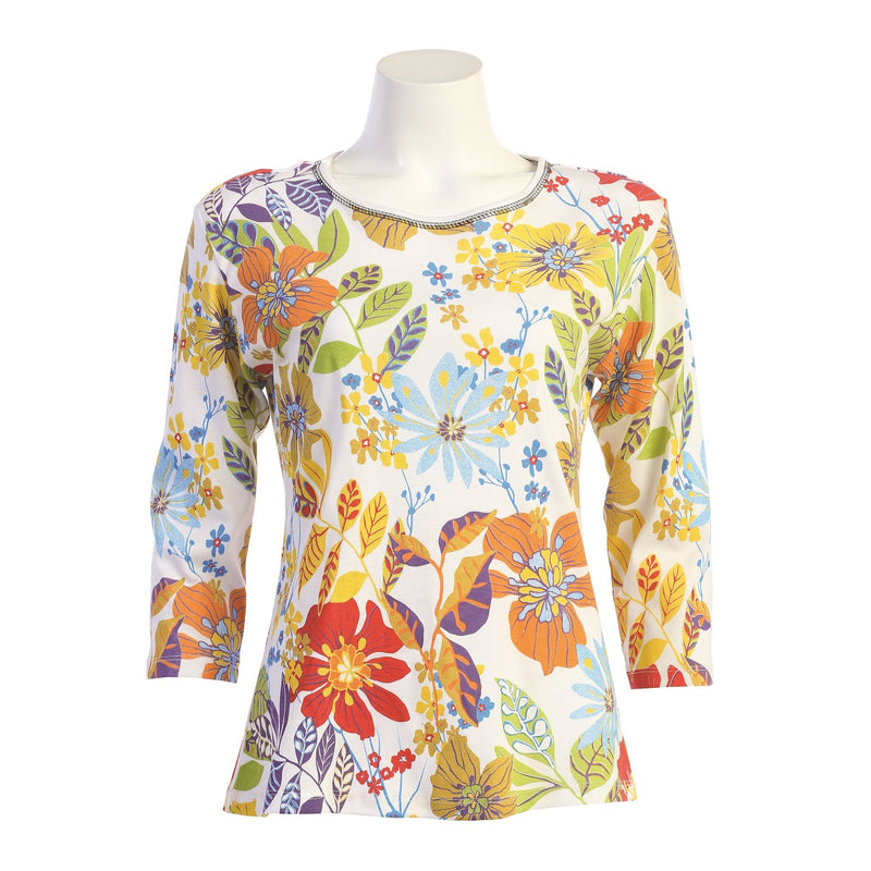 "Jess & Jane ""Zippy"" Abstract Floral Print Top - 14-1568"