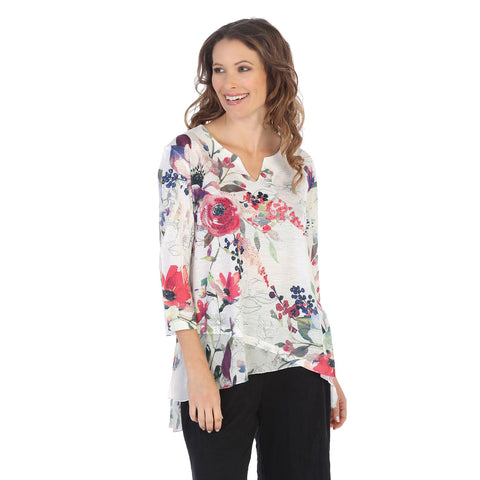 "Jess & Jane ""Evening Sonnet"" High-Low Tunic Top with Chiffon Border - 61-1106 - Size 3X Only"