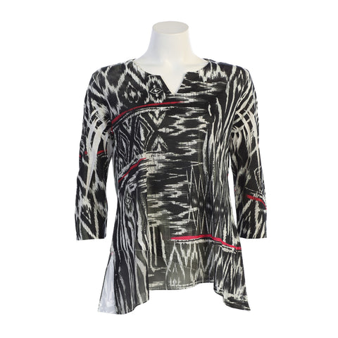 "Jess & Jane ""Navajo Art""  Semi-Sheer Tunic in Black/White/Red - 61-1120 - Size L Only"