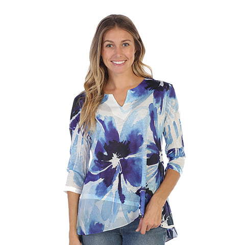"Jess & Jane ""Tahoe"" Floral Print Chiffon Border Tunic Top in Blue/White - 61-1331"