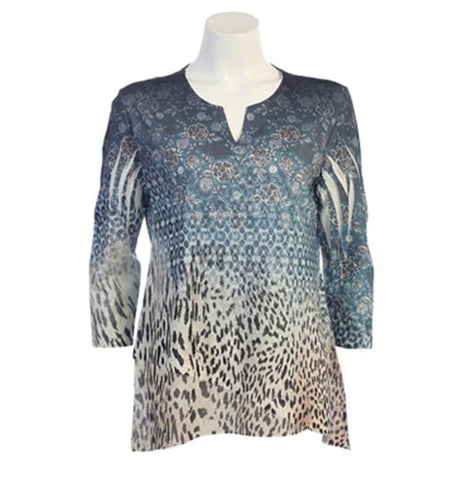 "Jess & Jane  ""Denim Cheetah"" Hi-Low Tunic in Green Multi - 61-964 - Size 3X Only"