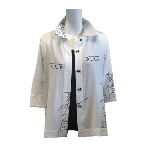 Moonlight by Y&S Sketch-Print Button Front Blouse in White & Black - 2783-WHT