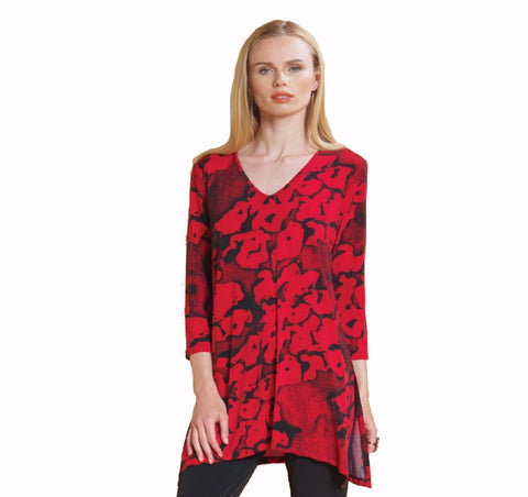 Clara Sunwoo V-Neck Print Tunic in Red/Black - TU167P2-RD