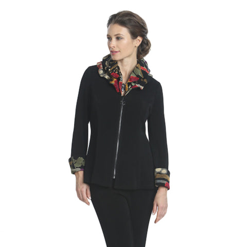 IC Collection Floral Zip Jacket in Black/Multi- 6317J-BLK - Size M Only