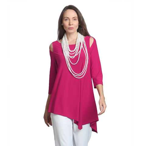 IC Collection Cold Shoulder Tunic in Fuchsia - 6615-FS - Size XXL Only