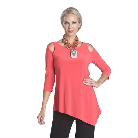 IC Collection Solid Cold Shoulder Angle Hem Tunic in Coral - 6615T-COR