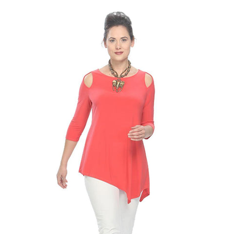 IC Collection Cold Shoulder Tunic in Coral - 6615 - COR