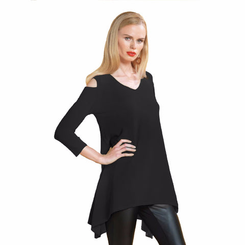 Clara Sunwoo Open Shoulder Tunic in Black T202LI