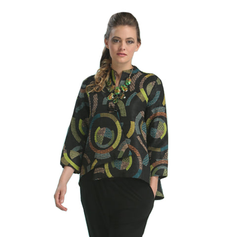 IC Collection Circular Print Asymmetric Jacket in Green/Multi - 6717J - Sizes S & M Only