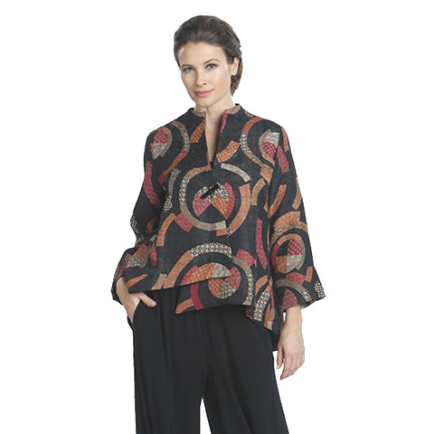 IC Collection Circular Print Asymmetric Jacket in Orange/ Multi - 6717J-BOJ