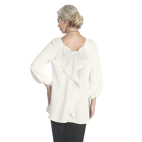 IC Collection Scoop-Back Cascading Bow Blouse in Ivory - 6761B-IVR - Size S Only