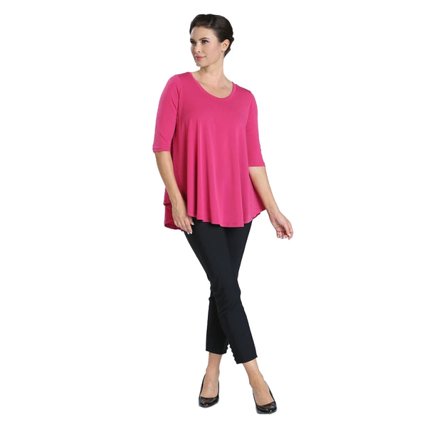 IC Collection Solid High-Low Top in Fuchsia - 6899T-FCH