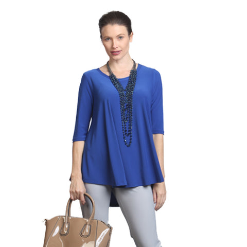 IC Collection Solid Soft Knit High-Low Tunic in Blue - 6899T-BLU