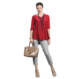 IC Collection Solid Soft Knit High-Low Tunic in Red - 6899T-RED