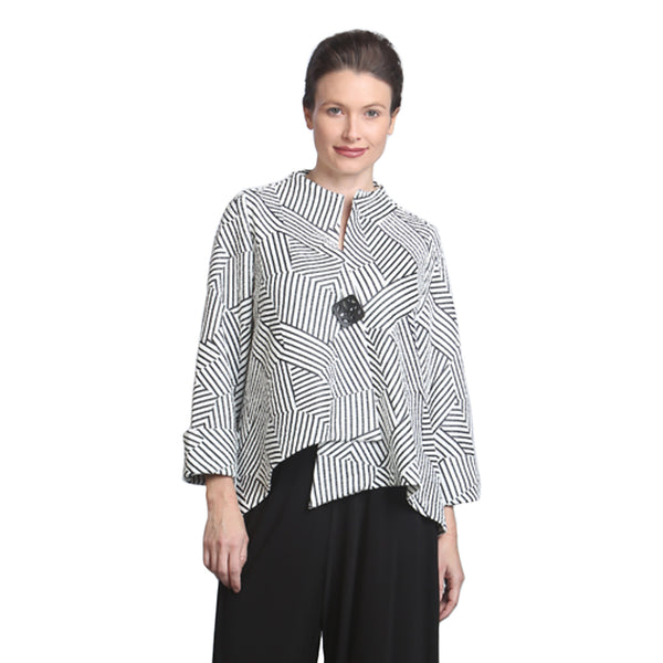IC Collection Geometric Asymmetric Jacket in Black & White - 6981J - Size S Only
