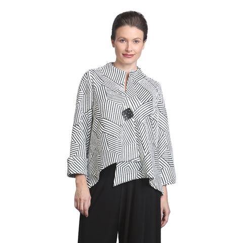 IC Collection Geometric Asymmetric Jacket in Black & White - 6981J