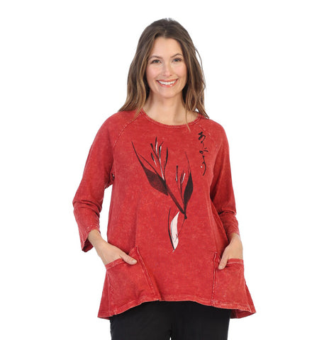 "Jess & Jane ""Ink Print"" Abstract Tunic Top in Red - M12-1388"