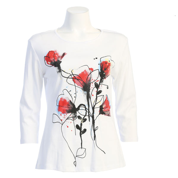 "Jess & Jane ""Blooming"" Abstract Print Top - 14-1609"