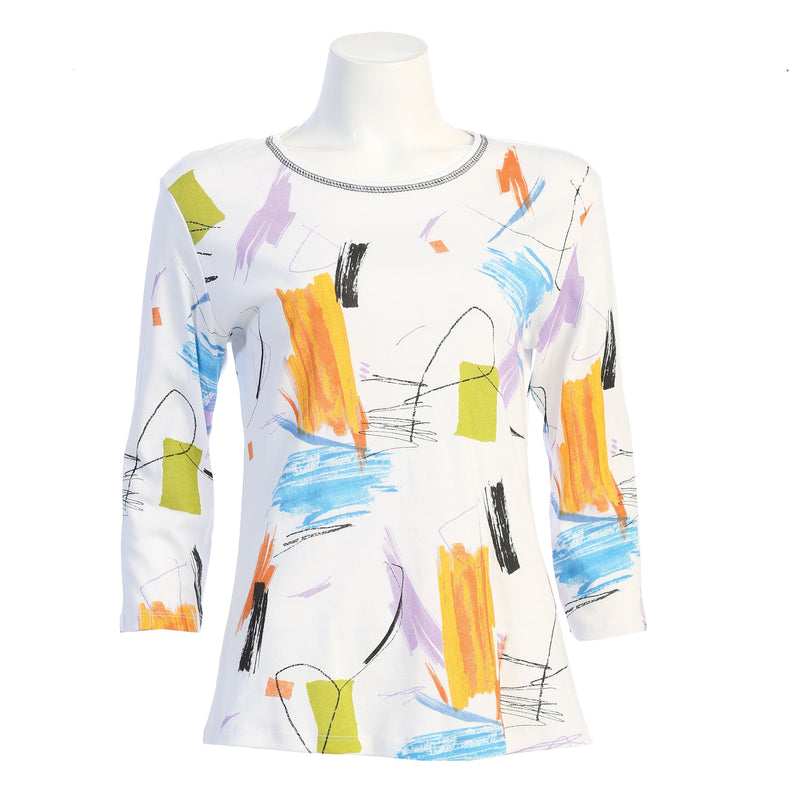 "Jess & Jane ""Impression"" Abstract Print Top - 14-1615"