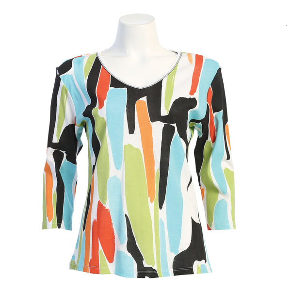 "Jess & Jane ""Madrid"" Abstract Print V-Neck Top - 15-1601"