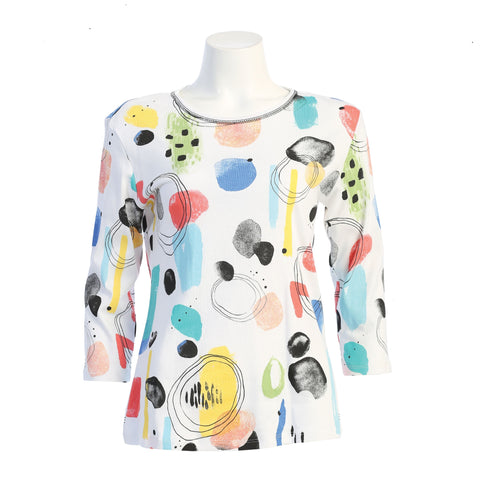 "Jess & Jane ""Bubbly"" Abstract Print Top - 14-1597"