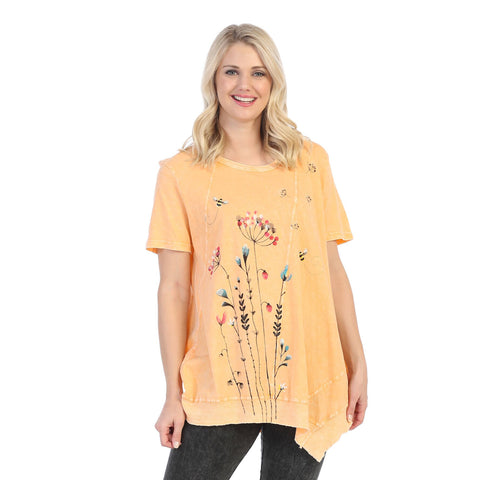 "Jess & Jane ""Busy Bee"" Mineral Washed Asymmetric Tunic in Tangerine - M61-1457"
