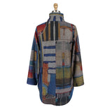 Damee Abstract Button Front Long Shirt in Blue/Multi - 7051-BLU - Size S Only