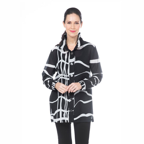Damee Sheer Wavy Line Art Shirt in Black/White - 7068-BLK