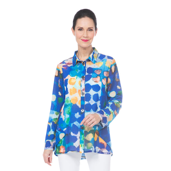 Damee Polka-Dot Button Front Shirt in Blue/Multi - 7070-BLU