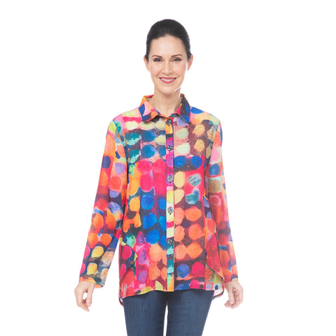 Damee Polka-Dot Button Front Shirt in Fuchsia - 7070-FHA