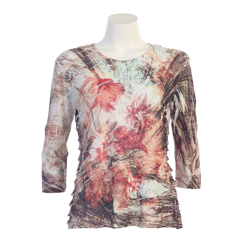 "Jess & Jane  ""Gloria"" Poly Span Ruffle Top in Multicolor - 74-1068 - Sizes XL & 1X Only"
