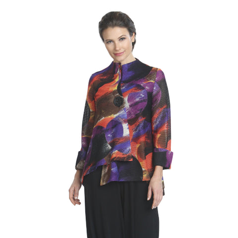 IC Collection Abstract Print Mesh Jacket in Purple/Multi- 7970J-PPL