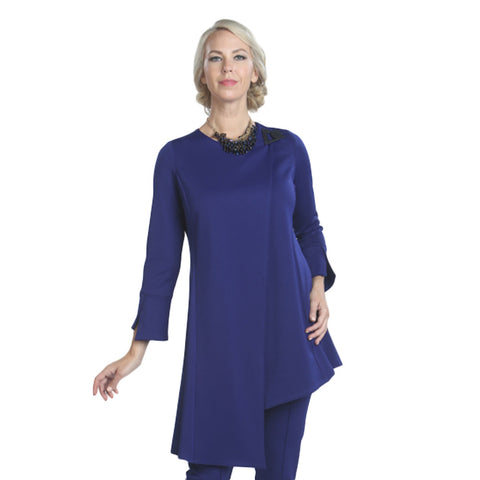 IC Collection Long Asymmetric Tunic/Jacket - 7972J-BLU - Size L Available!