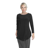 IC Collection Crossover Fitted Tunic Top in Black - 7979T-BLK