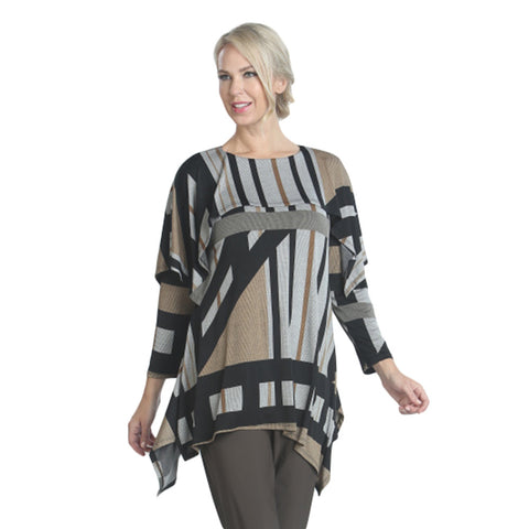 IC Collection Striped Knit Tunic in Taupe Multi  - 7991T-TAU - Size L Only