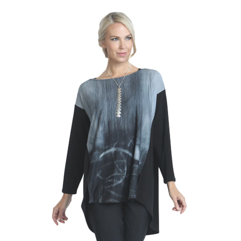 IC Collection High-Low Abstract Print Tunic in Grey Multi - 7997T-GRY Size L Available!