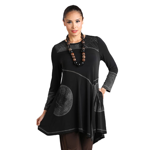 IC Collection Mixed Media Pocket Tunic in Silver - 8337T-SLV