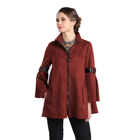 IC Collection Zip Front Faux Suede Jacket in Wine - 8372J-WN  Size M Only