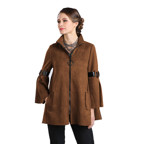 IC Collection Zip Front Faux Suede Jacket in Camel - 8372J-CM