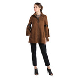 IC Collection Faux Suede Zip Front Jacket in Brown - 8372J-CM