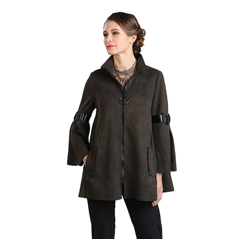 IC Collection Zip Front Faux Suede Jacket in Olive- 8372J-OLV - Size XL Only