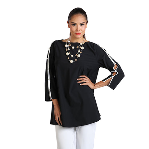 IC Collection Pearl Open Sleeve Tunic Top in Black/White - 8382T-BLK