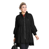IC Collection Zip Front Parachute Jacket in Black 8420J-BLK