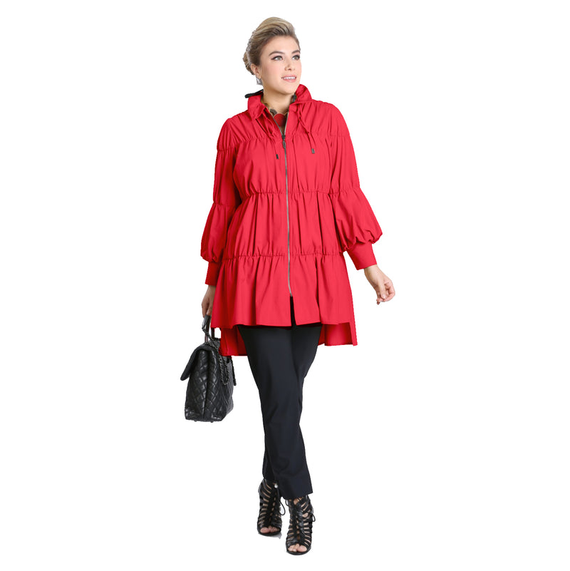 IC Collection Zip Front Parachute Jacket in Red - 8420J-RED