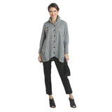 IC Collection Striped Long Shirt in Black & White - 8423B-BLK