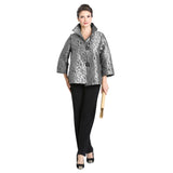 IC Collection Mosaic Pebble Jacquard Jacket in Gray -  8460J-GRY
