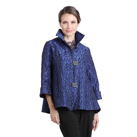 IC Collection Jacquard Jacket in Blue/Black  ♥  8460J-BLU - Sizes S & M Only