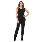 Jess & Jane Soft Knit Straight Leg Pull-On Pant in Black - Y2-BK